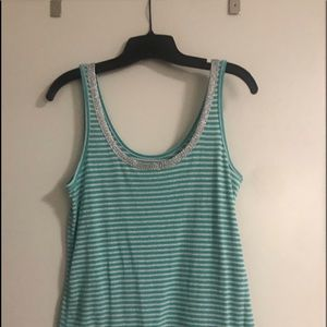 Striped tank top with silver threads